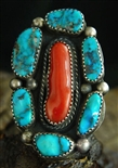 ORVILLE TSINNIE MORENCI TURQUOISE & CORAL RING