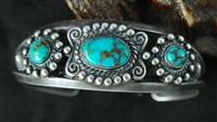EARLY TYRONE TURQUOISE CUFF BRACELET
