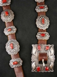 CLASSIC NAVAJO CONCHO BELT WITH CORAL