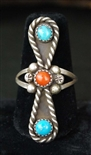 LOVELY NAVAJO TURQUOISE & CORAL RING