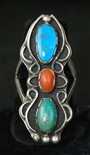 LOVELY NAVAJO CORAL & TURQUOISE RING