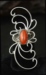 UNIQUE LONG NAVAJO CORAL RING