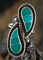 ZUNI BLUE GEM TURQUOISE INLAID RING