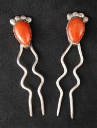 LOVELY NAVAJO CORAL HAIR PINS SET OF 2