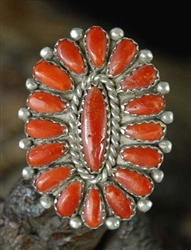 LOVELY ALICE QUAM CORAL CLUSTER RING