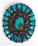 STRIKING BISBEE TURQUOISE CLUSTER PENDANT/PIN