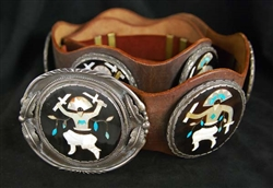 RARE ELLIOT QUALO INLAID GHAN DANCER CONCHO BELT