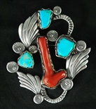 LOVELY DAN SIMPLICIO CORAL AND TURQUOISE PIN