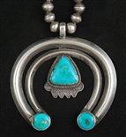 EARLY NAVAJO NAJA WITH BLUE GEM TURQUOISE