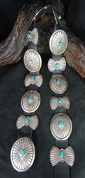 LOVELY NAVAJO AND TURQUOISE CONCHO BELT