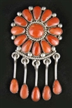 LOVELY ALICE QUAM CORAL CLUSTER PENDANT/PIN