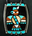 EARLY FRANK VACIT INLAID HOPI BIRD BOLO