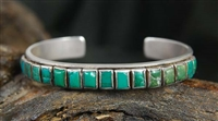 EARLY NAVAJO CERRILLOS TURQUOISE ROW BRACELET