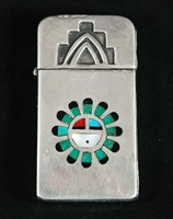 EARLY INLAID SUNFACE ZIPPO LIGHTERSHADOWBOX KEY RING