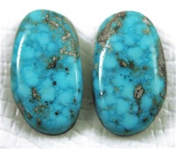 NATURAL MORENCI TURQUOISE CABOCHON WATER WEB MATCHED PAIR