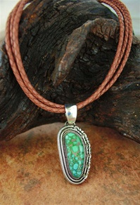 "ARTIE YELLOWHORSE CARICO LAKE TURQUOISE PENDANT <SPAN style=""COLOR: #ff0000; FONT-WEIGHT: bold"">*SOLD*</SPAN></SPAN>"