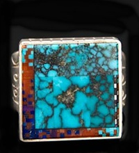 CARL AND IRENE CLARK INTARSIA INLAID RING