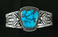 JACOB MORGAN RED WEBBED MORENCI TURQUOISE BRACELET