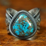 JACOB MORGAN RED WEBBED MORENCI TURQUOISE RING