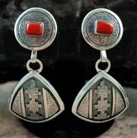 "JACK TOM RETICULATED SILVER & CORAL EARRINGS<SPAN style=""COLOR: #ff0000; FONT-WEIGHT: bold"">*SOLD*</SPAN></SPAN>"