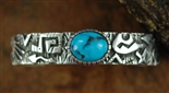 KEE YAZZIE MORENCI TURQUOISE OVERLAY BRACELET