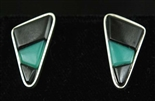 MELVIN PLATERO CHRYSOPRASE AND ONYX EARRING