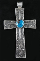 REBECCA BEGAY MORENCI TURQUOISE CROSS PENDANT