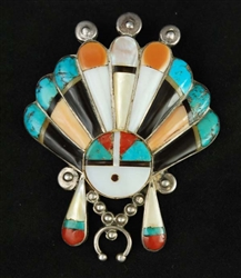 BEAUTIFUL ZUNI INLAID SUNFACE PIN