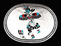 FRANK VACIT INLAID ZUNI EAGLE DANCER BUCKLE