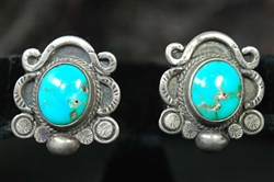 VINTAGE NAVAJO BLUE GEM TURQUOISE EARRINGS