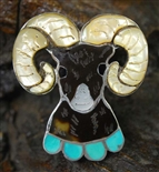 BEAUTIFUL JOE ZUNIE INLAID RAM RING