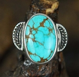 LOVELY NAVAJO #8 TURQUOISE PINKY RING