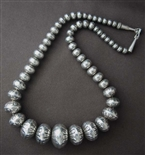 NAVAJO HAND MADE GRADUATED SILVER BEAD NECKLACE