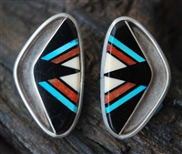 BEAUTIFUL NAVAJO INLAY EARRINGS