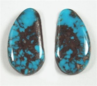 NATURAL MORENCI TURQUOISE CABOCHON MATCHED PAIR