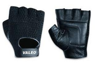 Valeo Mesh Back Leather Weight Lifting Gloves 1 pair Black