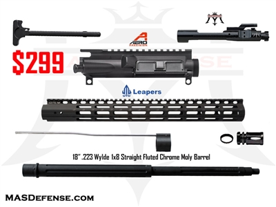"18"" .223 WYLDE AR-15 BUILD KIT - AERO RECEIVER - UTG HANDGUARD - COMPLETE WITH BCG AND FCH - NOT ASSEMBLED"