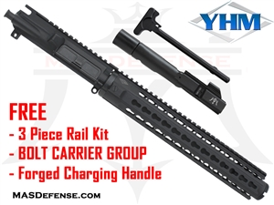 "10.5"" 9MM BARRELED UPPER - YANKEE HILL 12.6"" KR7  ***FREE BCG - CHARGING HANDLE - 3 PIECE RAIL KIT"