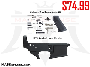 COMBO - AR-15 80% LOWER - STAINLESS LOWER PARTS KIT
