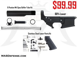 COMBO - AR-15 80% LOWER - STAINLESS LOWER PARTS KIT - 6 POSITION MIL-SPEC BUFFER TUBE KIT