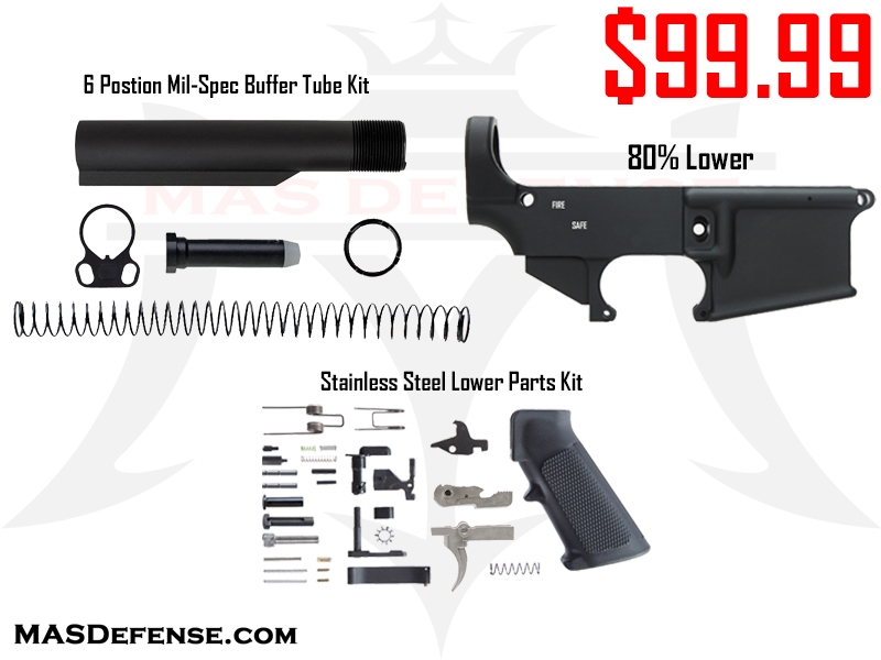 AR-15 80% LOWER - STAINLESS LOWER PARTS KIT - 6 POSITION MIL-SPEC BUFFER  TUBE KIT COMBO