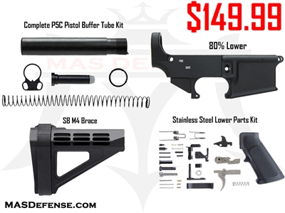 AR-15 80% LOWER - STAINLESS LOWER PARTS KIT - SBM4 PISTOL BRACE - P5C PISTOL BUFFER TUBE COMBO