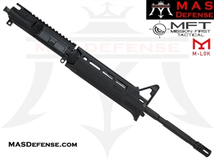 "16"" 5.56 /.223 BARRELED UPPER W/ PINNED FSB MISSION FIRST TACTICAL TEKKO POLYMER AR15 DROP-IN M-LOK RAIL - TP15MRS-BL"