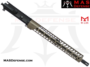 "16"" 5.56 / .223 BARRELED UPPER - MAS NERO 15"" M-LOK RAIL - MID LENGTH GAS - FDE"