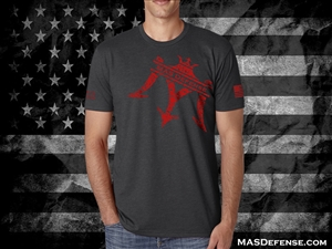 MAS DEFENSE T-SHIRT SPLATTER LOGO - CHARCOAL - MEDIUM