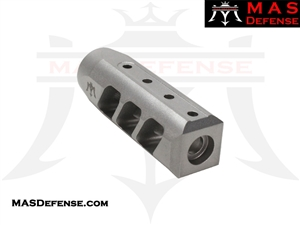 MAS DEFENSE RIOT 5.56 MUZZLE BRAKE - STAINLESS STEEL MATTE - 1/2x28 TPI