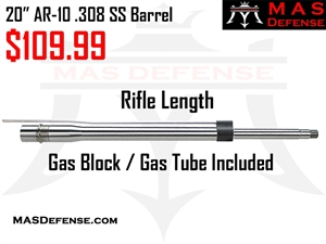 "20"" AR-10 .308 1X10 MID-WEIGHT 416R STAINLESS STEEL BARREL"