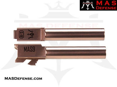 MAS DEFENSE 9MM 416R STAINLESS STEEL GLOCK 19 BARREL - RADIANT BRONZE (ROSE GOLD)
