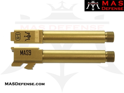 MAS DEFENSE 9MM 416R STAINLESS STEEL GLOCK 19 THREADED BARREL - GOLD (TiN) MATTE