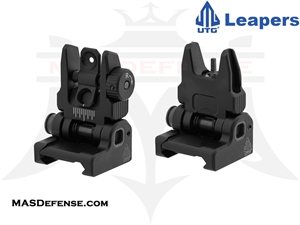 UTG LOW PROFILE SPRING LOADED AR-15 FLIP-UP FRONT & REAR SIGHT SET - MNT-757 MNT-957